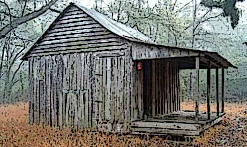 This cabin is located slightly south of Tilton, Mississippi.